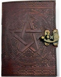Pentacle Brown Leather Book of Shadows 7 Inch Journal with Latch Mystic Convergence Metaphysical Supplies Metaphysical Supplies, Pagan Jewelry, Witchcraft Supply, New Age Spiritual Store