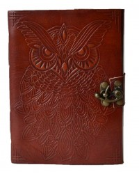 Owl Leather 7 Inch Blank Book with Latch Mystic Convergence Metaphysical Supplies Metaphysical Supplies, Pagan Jewelry, Witchcraft Supply, New Age Spiritual Store