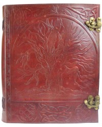 Tree of Life Leather Blank Book with Latch - 10 x 13 Mystic Convergence Wiccan Supplies, Pagan Jewelry, Witchcraft Supplies, New Age Store