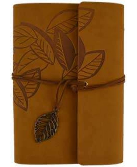 Brown Leaf Leather Ring Binder - 7 1/4 Inches at Mystic Convergence, Wiccan Supplies, Pagan Jewelry, Witchcraft Supplies, New Age Store