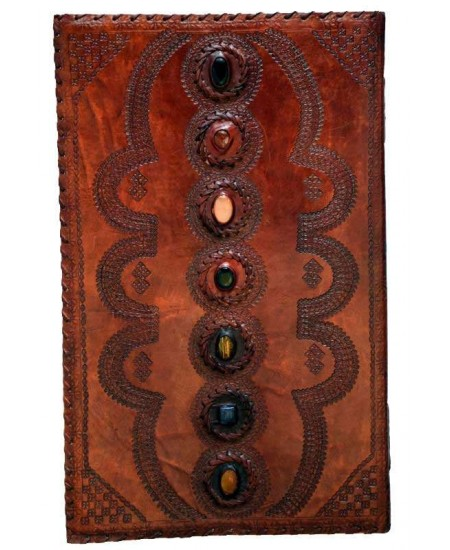7 Chakra Stones XLarge Leather Blank Journal - 22 Inches at Mystic Convergence, Wiccan Supplies, Pagan Jewelry, Witchcraft Supplies, New Age Store