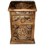 Pentacle Carved Wooden Herb Chest at Mystic Convergence Metaphysical Supplies, Metaphysical Supplies, Pagan Jewelry, Witchcraft Supply, New Age Spiritual Store
