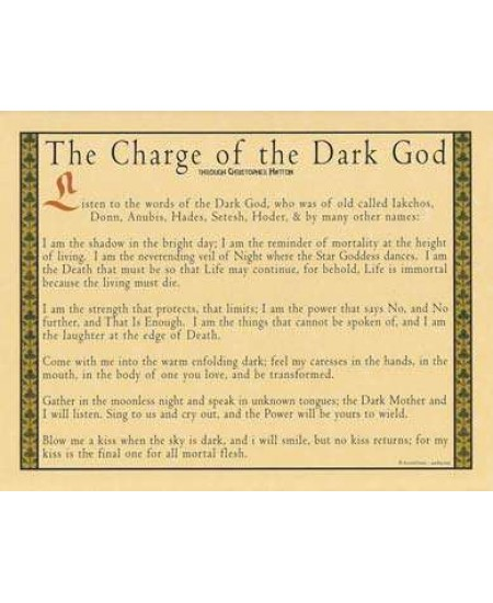 Charge of the Dark God Parchment Poster at Mystic Convergence Metaphysical Supplies, Metaphysical Supplies, Pagan Jewelry, Witchcraft Supply, New Age Spiritual Store