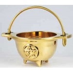 Brass 3 Inch Pentacle Cauldron with Handle at Mystic Convergence Metaphysical Supplies, Metaphysical Supplies, Pagan Jewelry, Witchcraft Supply, New Age Spiritual Store
