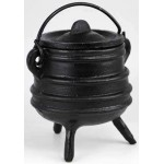 Cast Iron 3 Inch Ribbed Cauldron with Lid at Mystic Convergence Metaphysical Supplies, Metaphysical Supplies, Pagan Jewelry, Witchcraft Supply, New Age Spiritual Store