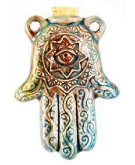 Hamsa Hand Raku Oil Bottle Necklace at Mystic Convergence Metaphysical Supplies, Metaphysical Supplies, Pagan Jewelry, Witchcraft Supply, New Age Spiritual Store