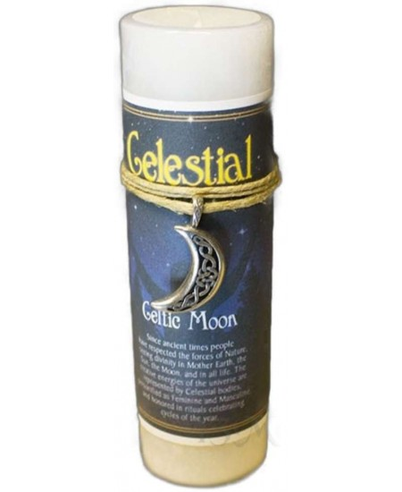 Celtic Moon Celestial Spell Candle with Amulet Pendant at Mystic Convergence Metaphysical Supplies, Metaphysical Supplies, Pagan Jewelry, Witchcraft Supply, New Age Spiritual Store