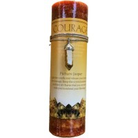Courage Crystal Energy Candle with Picture Jasper Pendant