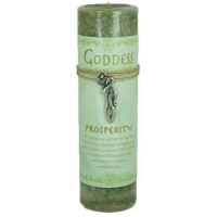 Goddess Prosperity Spell Candle with Amulet Pendant