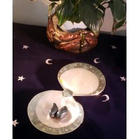 Double Shell Dish with Silver Rims
