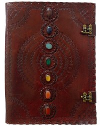 7 Chakra Stones Leather Blank Journal - 13 Inches Mystic Convergence Metaphysical Supplies Metaphysical Supplies, Pagan Jewelry, Witchcraft Supply, New Age Spiritual Store