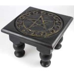 Pentacle Carved Wood Altar Table at Mystic Convergence Metaphysical Supplies, Metaphysical Supplies, Pagan Jewelry, Witchcraft Supply, New Age Spiritual Store