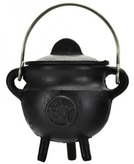 Pentacle Cast Iron Mini Cauldron with Lid at Mystic Convergence Metaphysical Supplies, Metaphysical Supplies, Pagan Jewelry, Witchcraft Supply, New Age Spiritual Store