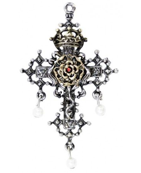 Hampton Court Rose Cross Necklace at Mystic Convergence Metaphysical Supplies, Metaphysical Supplies, Pagan Jewelry, Witchcraft Supply, New Age Spiritual Store