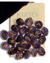 Amethyst Gemstone Rune Set