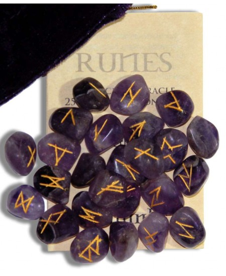 Amethyst Gemstone Rune Set at Mystic Convergence Metaphysical Supplies, Metaphysical Supplies, Pagan Jewelry, Witchcraft Supply, New Age Spiritual Store