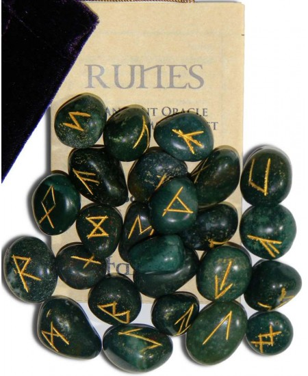 Bloodstone Green Gemston Rune Set at Mystic Convergence Metaphysical Supplies, Metaphysical Supplies, Pagan Jewelry, Witchcraft Supply, New Age Spiritual Store