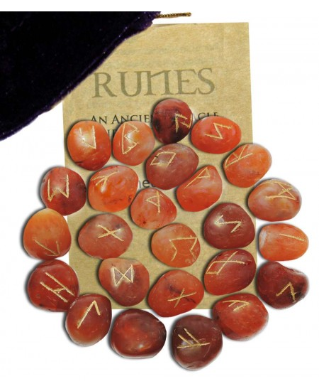 Carnelian Gemstone Rune Set at Mystic Convergence Metaphysical Supplies, Metaphysical Supplies, Pagan Jewelry, Witchcraft Supply, New Age Spiritual Store