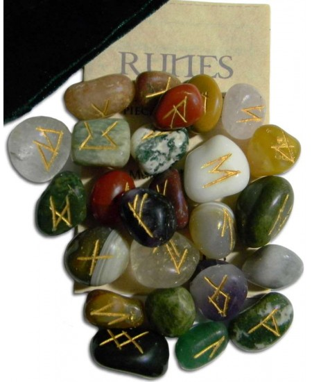Multi-Stone Agate Gemstone Rune Set at Mystic Convergence Metaphysical Supplies, Metaphysical Supplies, Pagan Jewelry, Witchcraft Supply, New Age Spiritual Store