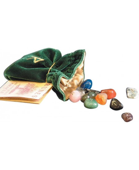 Gemstone Rune Stone Set with Embroidered Bag at Mystic Convergence Metaphysical Supplies, Metaphysical Supplies, Pagan Jewelry, Witchcraft Supply, New Age Spiritual Store