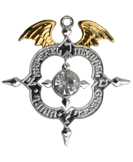 Winged Archangel Shield Amulet Kaballah Necklace at Mystic Convergence Metaphysical Supplies, Metaphysical Supplies, Pagan Jewelry, Witchcraft Supply, New Age Spiritual Store