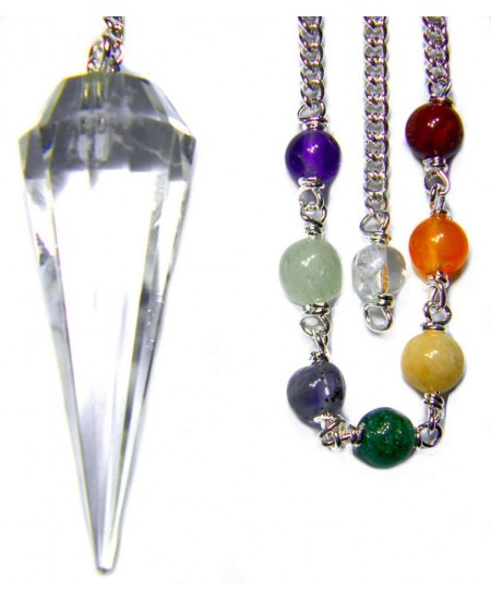 Clear Quartz Crystal Chakra Scrying Pendulum at Mystic Convergence Metaphysical Supplies, Metaphysical Supplies, Pagan Jewelry, Witchcraft Supply, New Age Spiritual Store