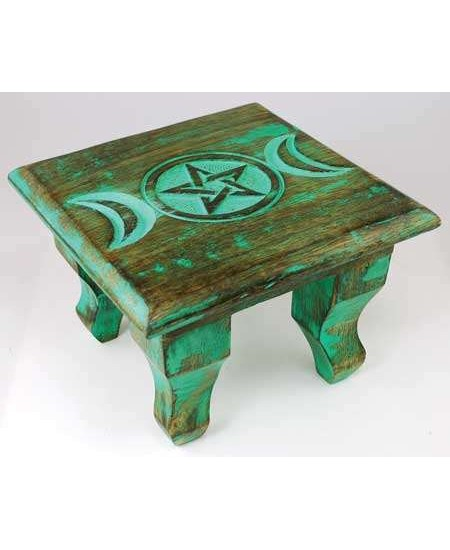 Triple Moon Antiqued Wood Altar Table at Mystic Convergence Metaphysical Supplies, Metaphysical Supplies, Pagan Jewelry, Witchcraft Supply, New Age Spiritual Store