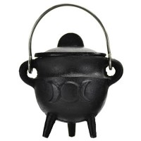 Triple Moon Cast Iron Mini Cauldron with Lid