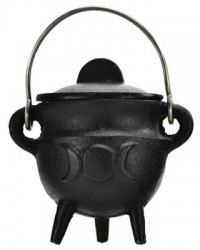 Triple Moon Cast Iron Mini Cauldron with Lid Mystic Convergence Metaphysical Supplies Metaphysical Supplies, Pagan Jewelry, Witchcraft Supply, New Age Spiritual Store