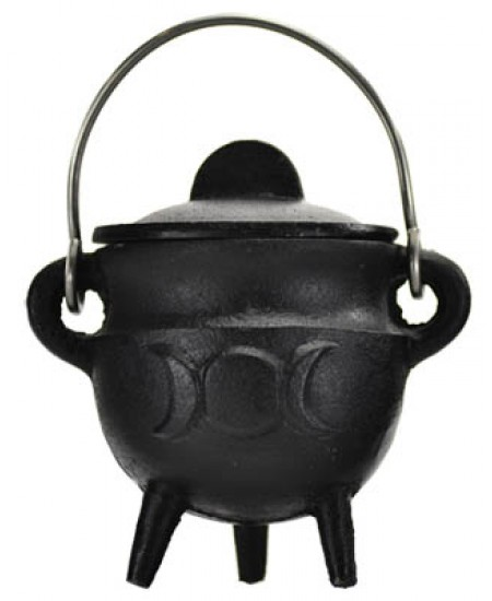 Triple Moon Cast Iron Mini Cauldron with Lid at Mystic Convergence Metaphysical Supplies, Metaphysical Supplies, Pagan Jewelry, Witchcraft Supply, New Age Spiritual Store