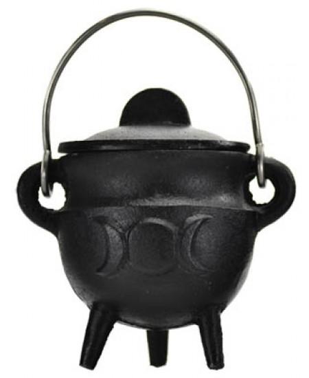 Triple Moon Cast Iron Mini Cauldron with Lid