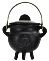 Triquetra Cast Iron Mini Cauldron with Lid Mystic Convergence Metaphysical Supplies Metaphysical Supplies, Pagan Jewelry, Witchcraft Supply, New Age Spiritual Store