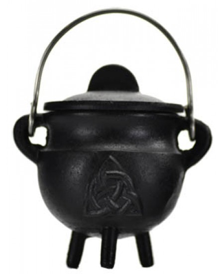 Triquetra Cast Iron Mini Cauldron with Lid at Mystic Convergence Metaphysical Supplies, Metaphysical Supplies, Pagan Jewelry, Witchcraft Supply, New Age Spiritual Store
